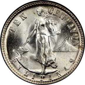 1945 D USA-PHIL 10C MS obverse