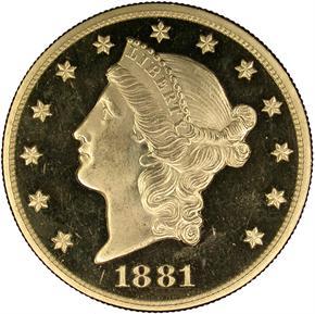 1881 $20 PF obverse