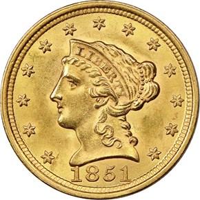 1851 $2.5 MS obverse