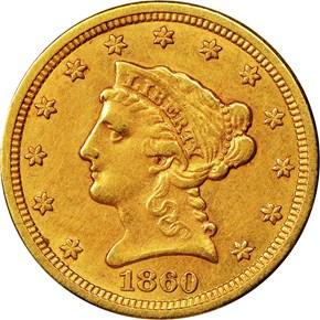 1860 S $2.5 MS obverse