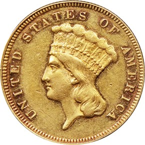 1877 $3 MS obverse