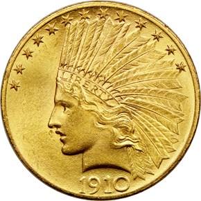 1910 $10 MS obverse