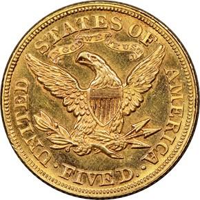 1878 $5 MS reverse