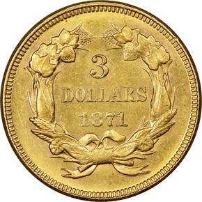 1871 $3 MS reverse