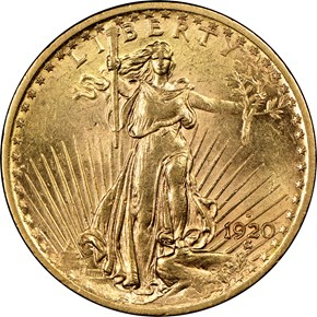 1920 S $20 MS obverse
