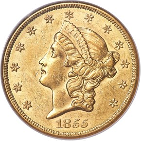 1855 $20 MS obverse