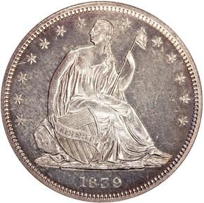 1839 DRAPERY 50C PF obverse