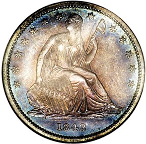1842 SM DATE LG LET 50C PF obverse