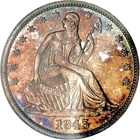 1843 50C PF obverse