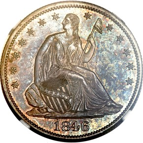 1846 MEDIUM DATE 50C PF obverse