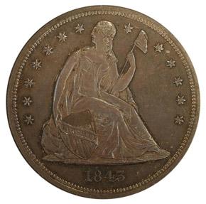 1843 S$1 PF obverse