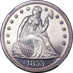 1853 $1 PF obverse