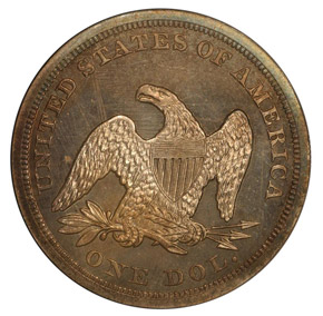 1854 S$1 PF reverse