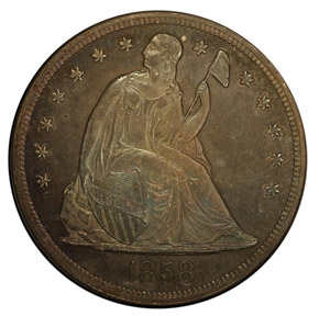 1858 S$1 PF obverse