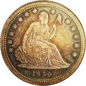 1839 25C PF obverse