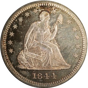 1844 25C PF obverse
