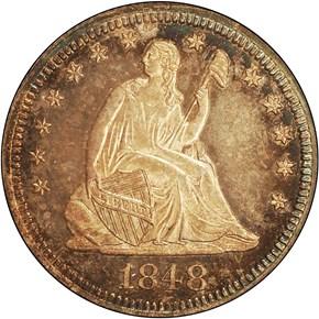 1848 25C PF obverse