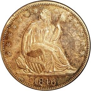 1846 MEDIUM DATE 50C PF obverse