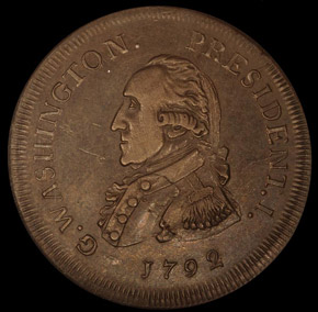 1792 SMALL EAGLE P.E. G.WASHINGTON PRESIDENT 50C M obverse