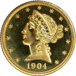 1904 $5 PF obverse