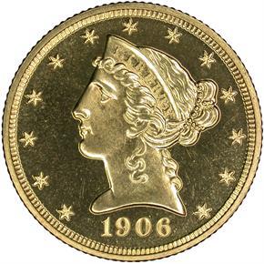 1906 $5 PF obverse