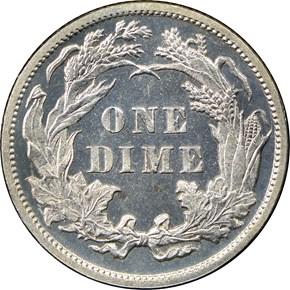 1888 10C PF reverse