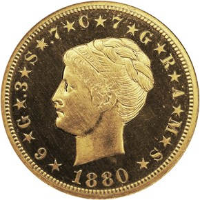1880 COILED HAIR $4 PF obverse