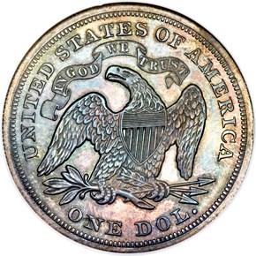 1872 $1 PF reverse