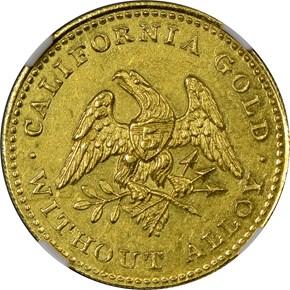 1849 REEDED EDGE NORRIS, GREGG & NORRIS $5 MS obverse