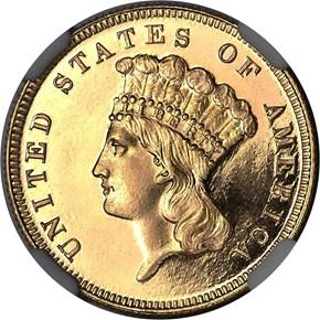 1884 $3 PF obverse