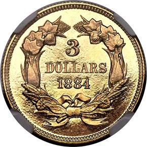 1884 $3 PF reverse
