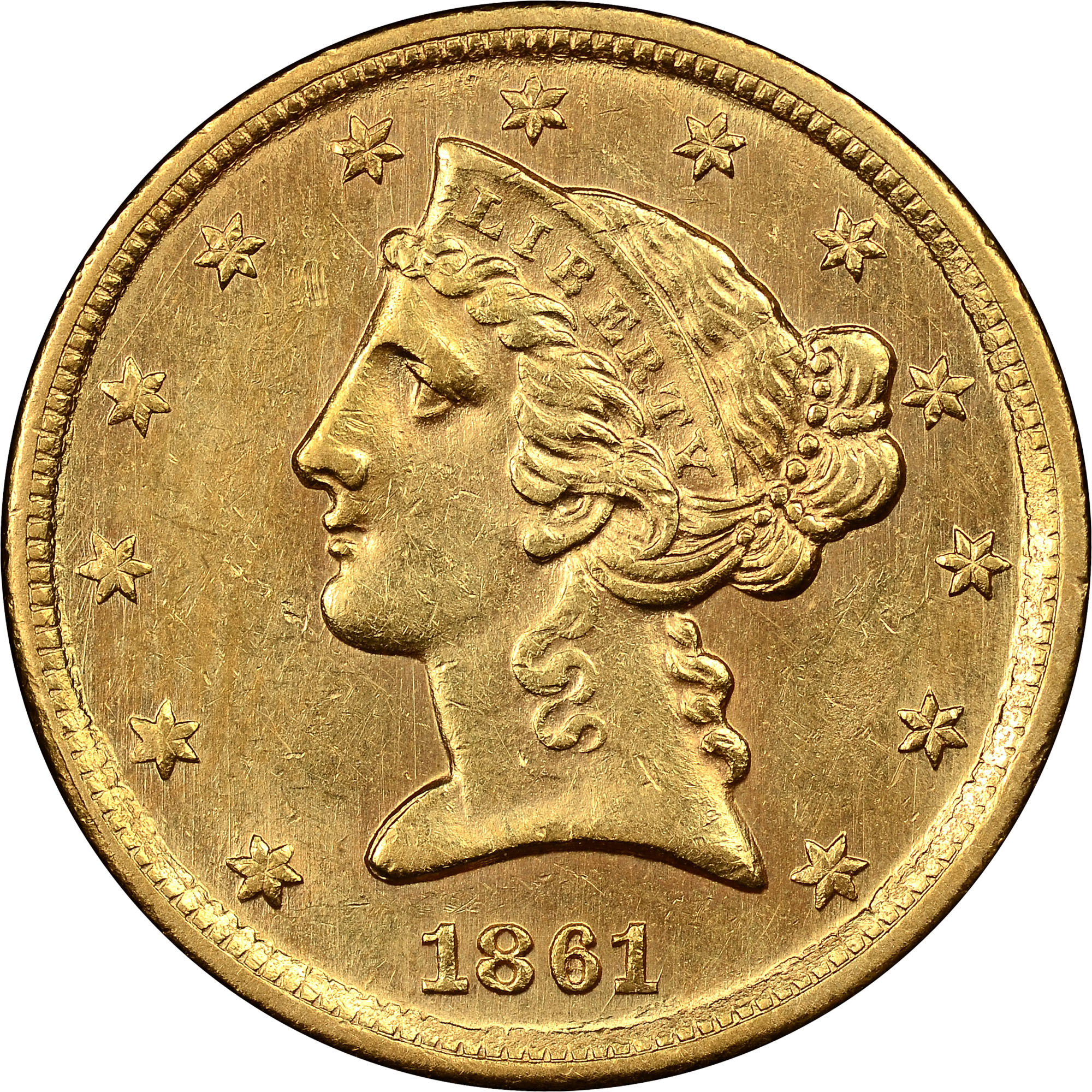 1861 C 5 Ms Liberty Head 5 Ngc