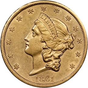 1861 S PAQUET $20 MS obverse