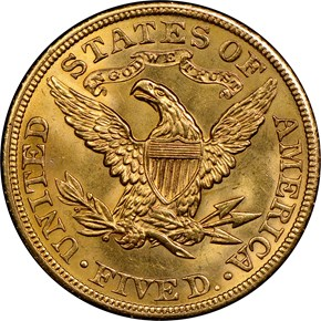 1904 $5 MS reverse
