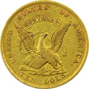1852/1 AUGUSTUS HUMBERT $10 MS obverse