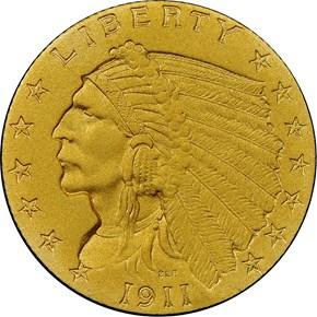 1911 $2.5 PF obverse