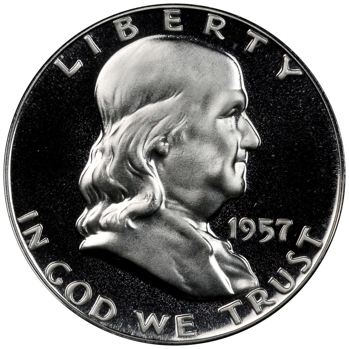 1957 Proof 50c Silver Franklin Half Dollar NGC PF 67