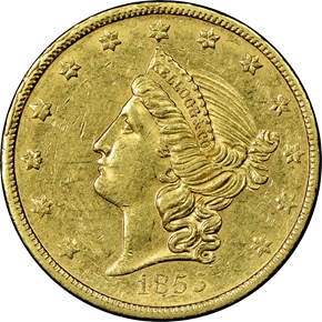 1855 KELLOGG & CO. $20 MS obverse