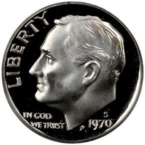 1970 S 10C PF obverse
