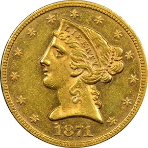 1871 $5 MS obverse