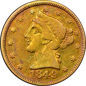 1849 MOFFAT & CO. $5 MS obverse