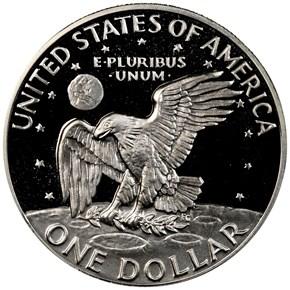 1972 S SILVER $1 PF reverse
