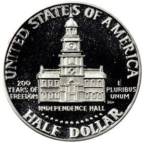 1776-1976 S SILVER 50C PF reverse