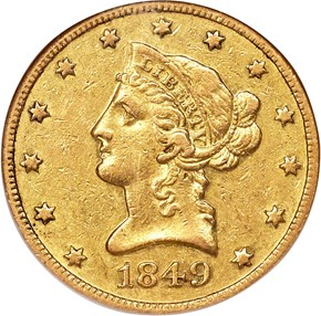 1849 O $10 MS obverse