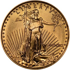 1991 EAGLE G$5 MS obverse