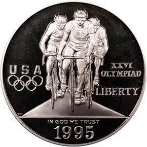 1995 P OLYMPICS CYCLING S$1 PF obverse