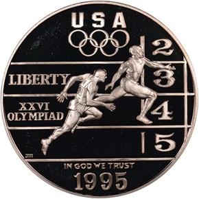 1995 P OLYMPICS - TRACK & FIELD S$1 PF obverse