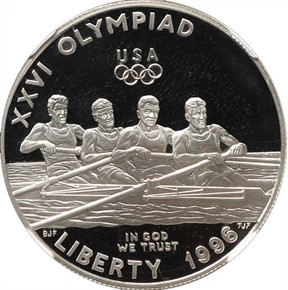 1996 P OLYMPICS - ROWING S$1 PF obverse