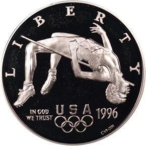 1996 P OLYMPICS HIGH JUMP S$1 PF obverse