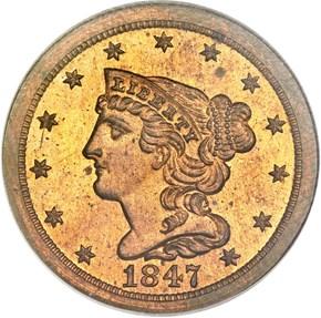1847 RESTRIKE 1/2C PF obverse